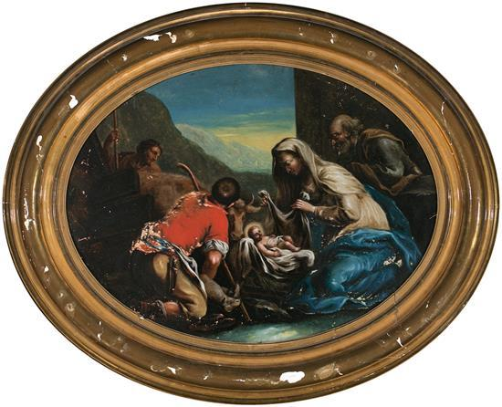 Master of the V.B.L. Activo en Nápoles en el siglo XVII The Adoration of the Shepherds