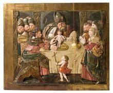 Escuela española del siglo XVI La Circuncisión Bajorrelieve en madera tallada, policromada, dorada y estofada