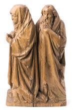 Escuela alemana de principios del siglo XVI La Virgen María con José de Arimatea Relieve en madera de roble tallado