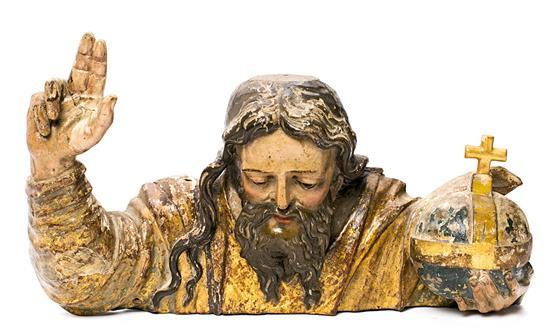 Escuela española de la segunda mitad del siglo XVI Dios Padre Escultura en madera tallada, dorada, policromada y estofada