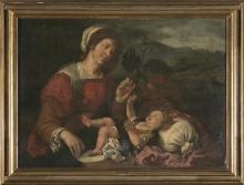 Escuela valenciana del primer tercio del siglo XVII La Virgen con el Niño y San Juanito Óleo sobre lienzo