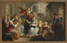 Escuela flamenca del siglo XVII La educación de la Virgen Óleo sobre cobre