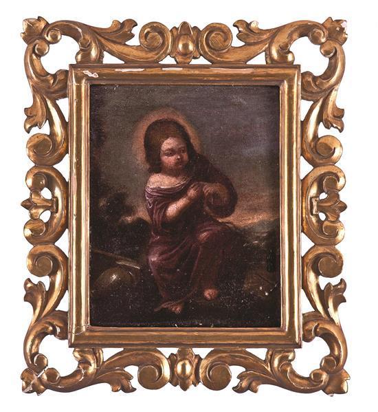Escuela sevillana del siglo XVII Niño Jesús de la espina Óleo sobre lienzo pegado a tabla