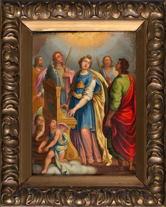 Escuela italiana del siglo XVII. Seguidor de Federico Barocci Santa Cecilia Óleo sobre cobre