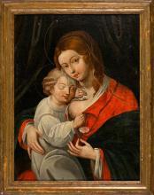 Spanish School, Possibily 17th Century  Nursing Madonna