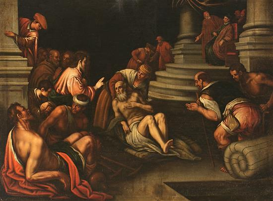 Valencian School, 17th Century Follower of Perdo Orrente  Jesus healing the paralytic at the Bethesda Pool