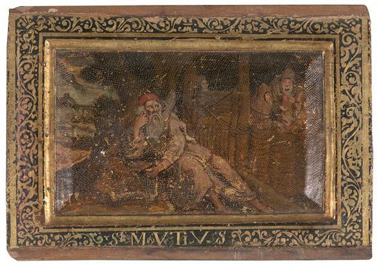 Escuela probablemente española del siglo XVII Un santo eremita Óleo y pan de oro sobre tabla