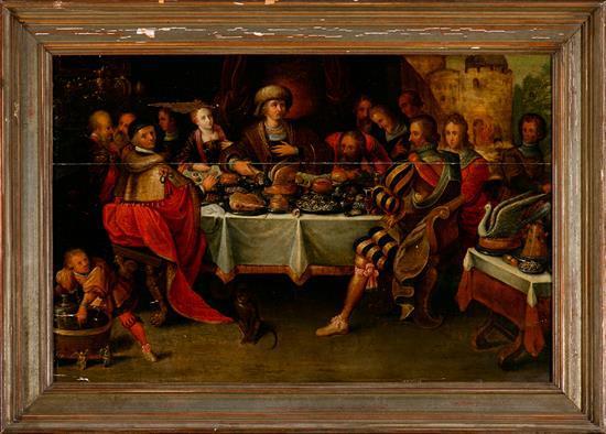 Escuela flamenca del siglo XVII. Seguidor de Frans Francken El banquete de Ester Óleo sobre tabla