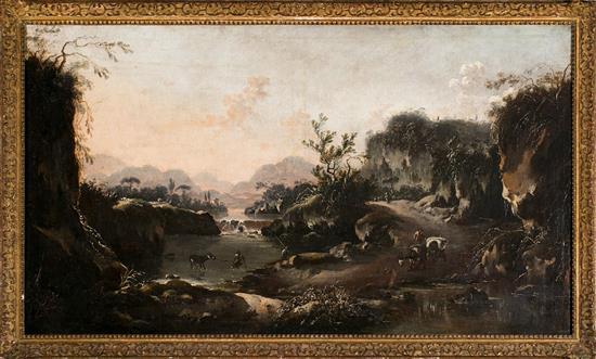 Hans de Jode La Haya 1630 - después de 1663 Paisaje fluvial Óleo sobre lienzo