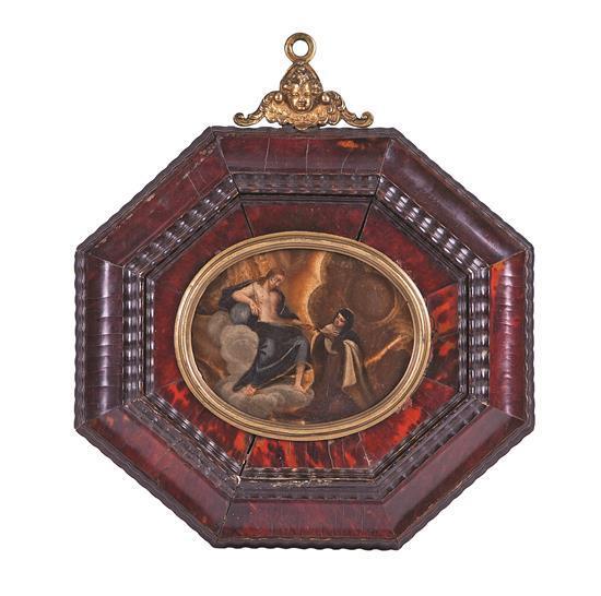 Escuela italiana del siglo XVII El éxtasis de Santa Teresa Óleo sobre ágata