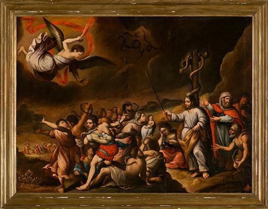 Escuela española del siglo XVII La serpiente de bronce Óleo sobre lienzo