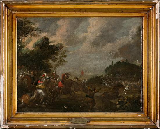 Escuela italiana del s. XVII. Seguidor de J. Courtois, 'il Borgognone' Escena de batalla Óleo sobre lienzo