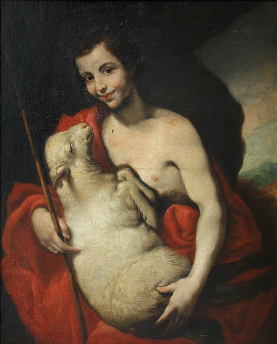 Escuela napolitana del siglo XVII. Seguidor de José de Ribera San Juan Bautista Óleo sobre lienzo