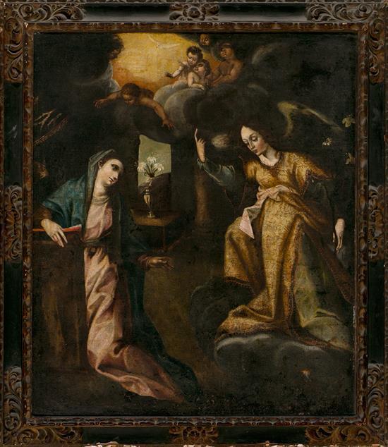 Escuela española del siglo XVII La Anunciación Óleo sobre lienzo