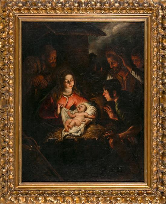 Escuela probablemente siciliana del siglo XVII. Seguidor de Mattias Stomer La adoración de los pastores Óleo sobre lienzo