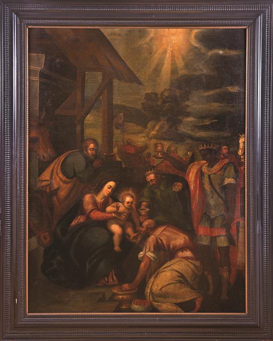 Escuela española del siglo XVII La Epifanía Óleo sobre lienzo