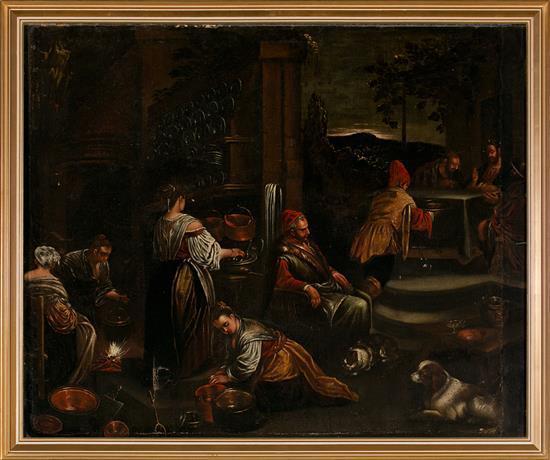 Escuela veneciana del siglo XVII. Círculo de los Bassano La cena de Emaús Óleo sobre lienzo