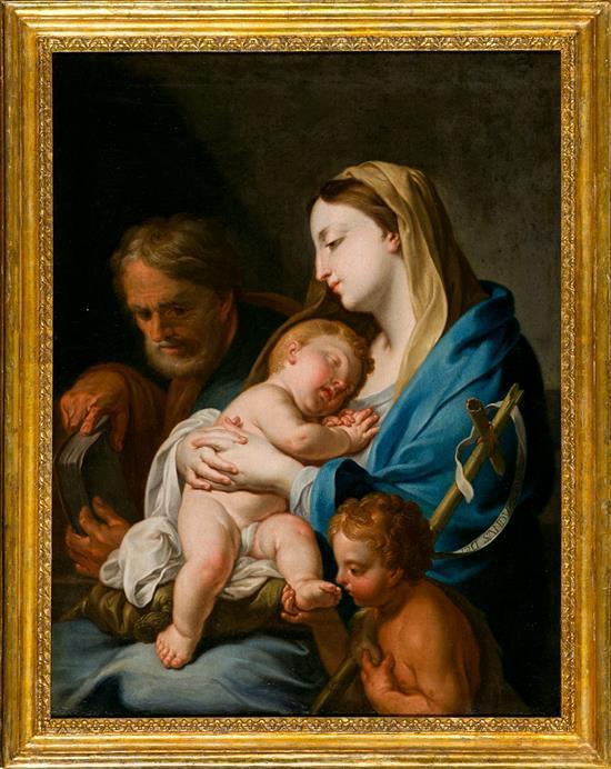 Francesco Trevisani Koper 1656 - Roma 1746 La Sagrada Familia con San Juanito Óleo sobre lienzo