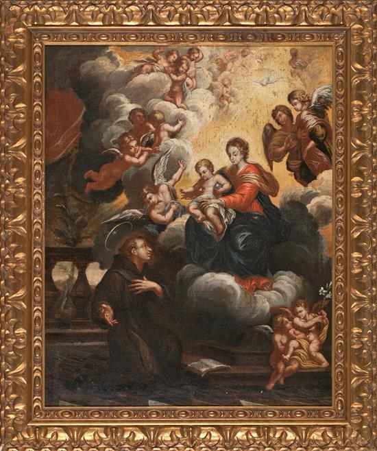 Escuela española del siglo XVII Aparición de la Virgen con el Niño a San Antonio de Padua Óleo sobre lienzo