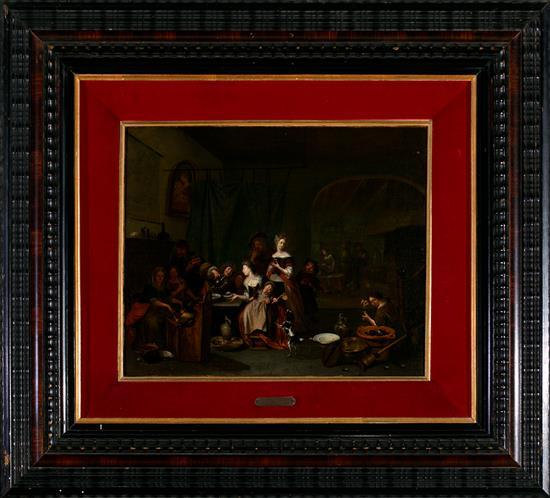 Richard Brakenburg Haarlem 1650 - 1702 Escena familiar en un interior Óleo sobre lienzo