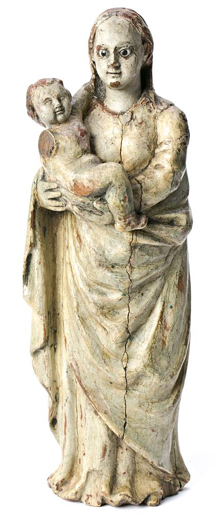 Escuela española del siglo XVII Virgen con el Niño Escultura en madera tallada y policromada