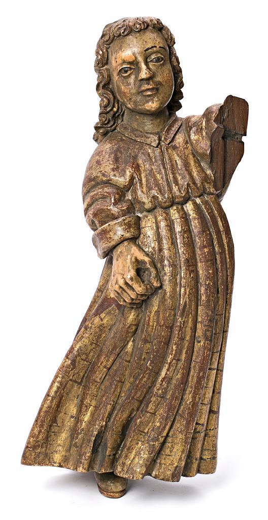 Escuela española, probablemente del siglo XVII Ángel Escultura en madera tallada, dorada y policromada
