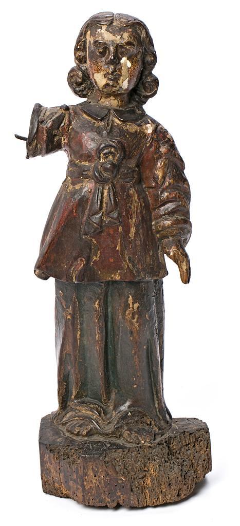 Escuela española del siglo XVII Arcángel Escultura en madera tallada