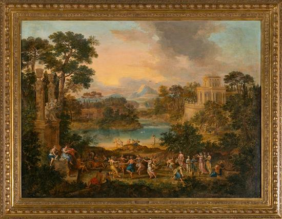 Attributed to Pierre Patel Chauny 1605 - París 1676 Apollo and the Muses at Parnassus