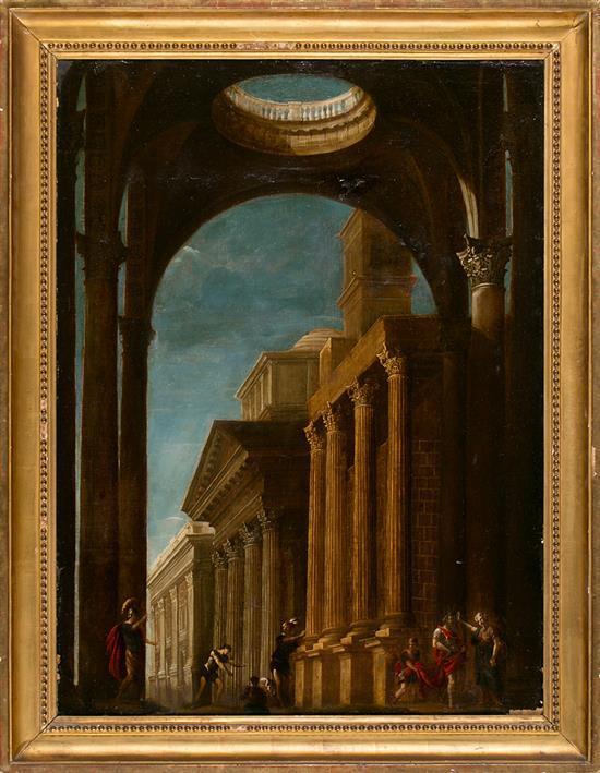 Escuela romana del siglo XVII Capricho arquitectónico Óleo sobre lienzo