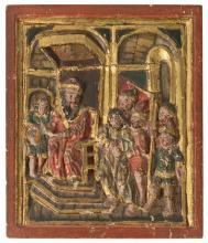 Escuela española del siglo XVII Jesús ante Herodes Bajorrelieve en madera tallada, dorada, policromada y estofada