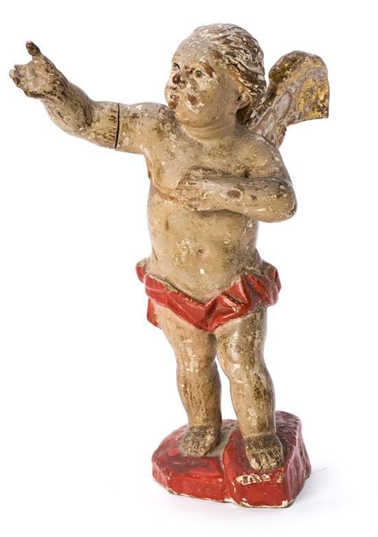 Escuela española del siglo XVIII Ángel Escultura en madera tallada, policromada y dorada