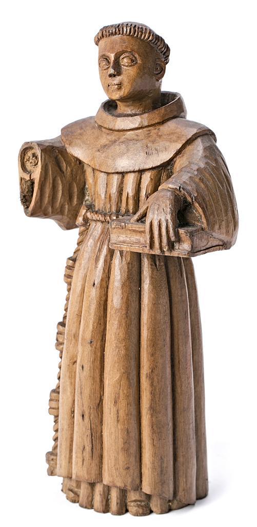 Escuela española, probablemente del siglo XVIII San Antonio de Padua Escultura en madera tallada