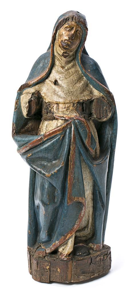 Escuela española del siglo XVII Dolorosa Escultura en madera tallada y policromada