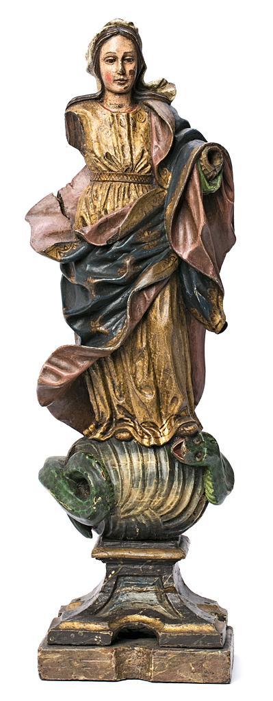 Escuela española del siglo XVIII Inmaculada Escultura en madera tallada y policromada