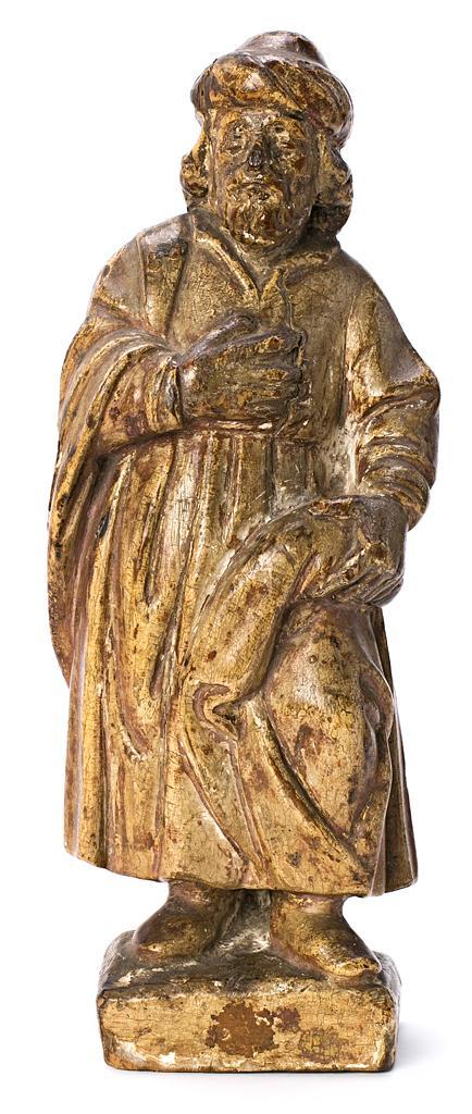 Escuela española del siglo XVIII Un santo Escultura en madera tallada