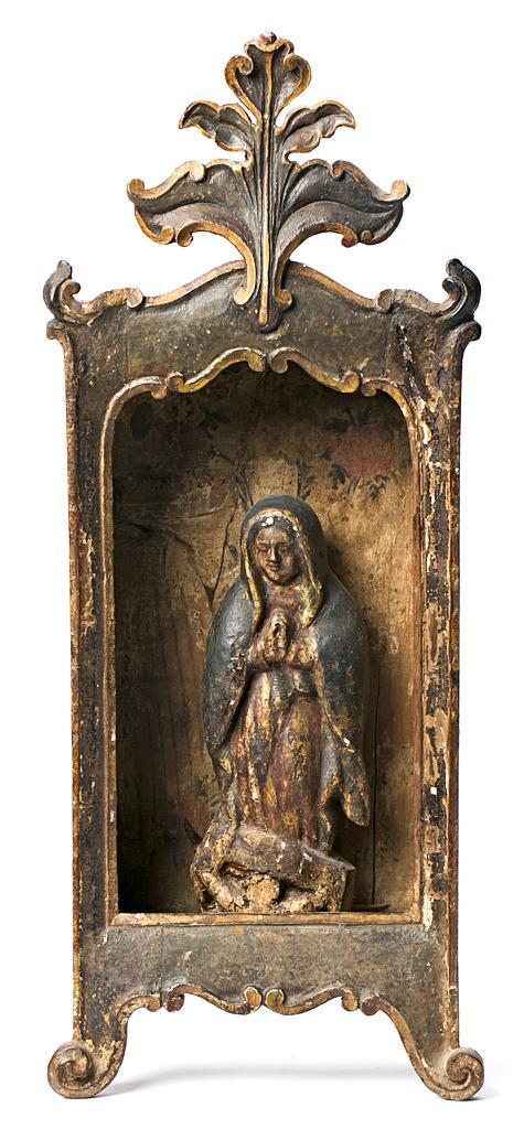 Escultura probablemente portuguesa del siglo XVIII Virgen de Guadalupe Escultura en madera tallada, dorada, estofada y policromada