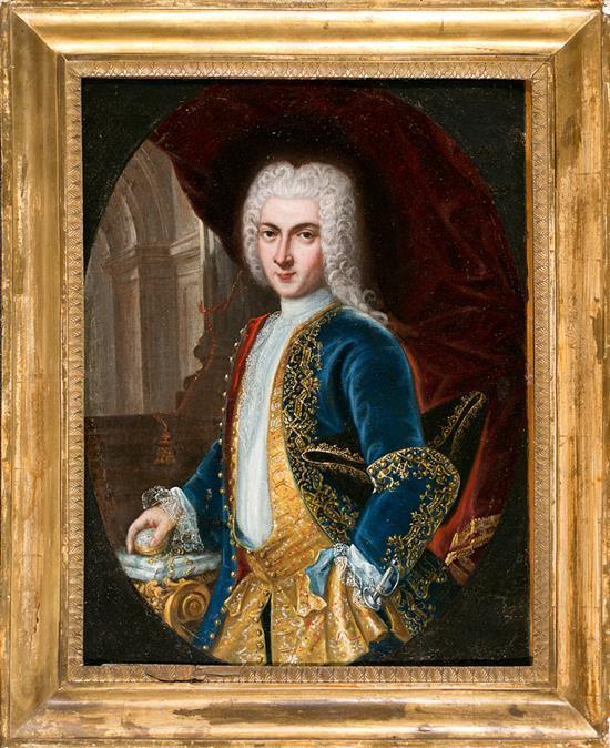 Escuela italiana del siglo XVIII Retrato masculino Óleo sobre lienzo