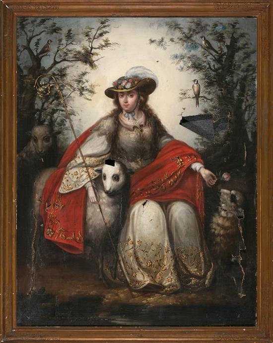 School of Seville, Second Quarter of the 18th Century  The Divine Shepherdess