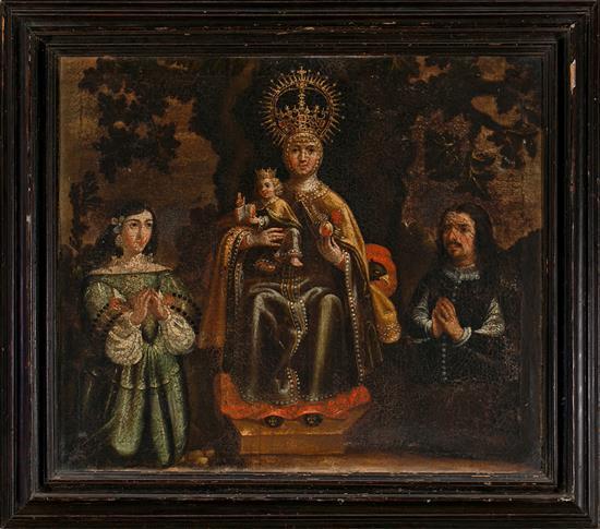 Escuela española, hacia 1680 La Virgen de Valvanera y dos donantes Óleo sobre lienzo