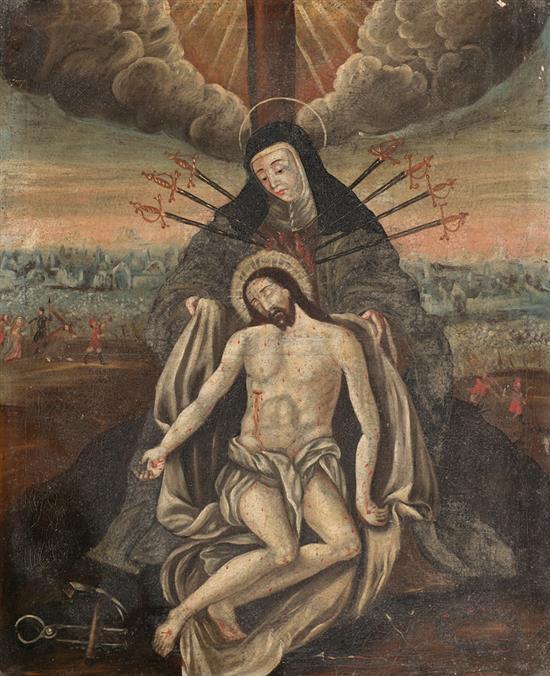Escuela española del siglo XVIII Piedad Óleo sobre lienzo