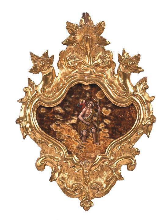 Escuela italiana del siglo XVIII San Cristóbal Óleo sobre ágata