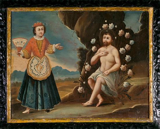 Escuela española o novohispana del siglo XVIII La tentación de San Francisco de Asís Óleo sobre lienzo