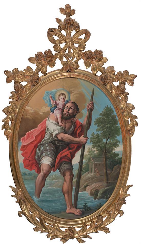 Atribuido a José Luzán Zaragoza 1710 - 1785Marco original en madera tallada y dorada San Cristóbal Óleo sobre lienzo