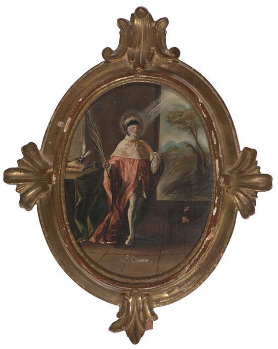 Escuela española del siglo XVIII San Cosme y San Damián Pareja de óleos sobre lienzo pegados a tabla