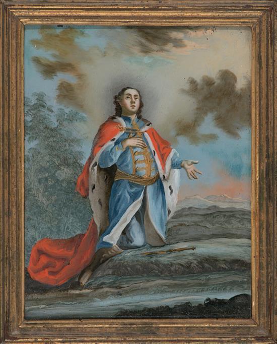 Escuela habsburguesa de la segunda mitad del siglo XVIII El emperador José II y Santo abad Pareja de pinturas bajo vidrio