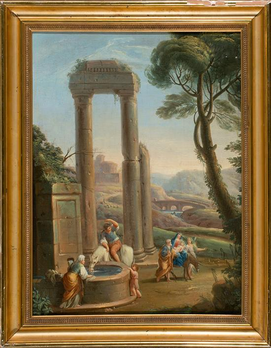 Escuela italiana del siglo XVIII La huida a Egipto Óleo sobre lienzo