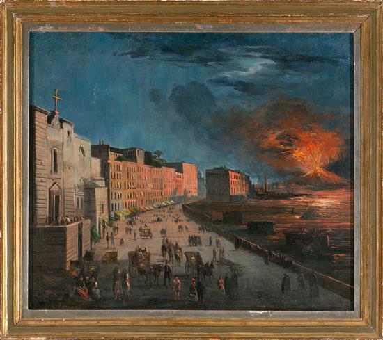 G. Ferrari Activo en Nápoles en el siglo XIX Vista de Nápoles Óleo sobre lienzo