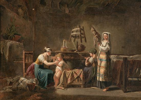 Atribuido a Jean-Baptiste Mallet Grasse 1759 - París 1835 Escena doméstica Óleo sobre lienzo