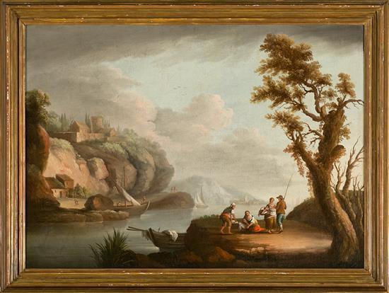 Escuela italiana, hacia 1800. Seguidor de Carlo Bonavia Paisaje con pescadores Óleo sobre lienzo