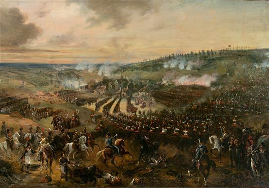 Adolphe Beaucé París 1818 - Boulogne-Billancourt 1875 La batalla de Waterloo Óleo sobre lienzo